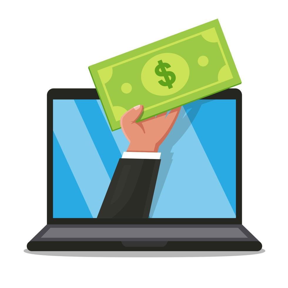 una mano con un conto in mano fa capolino dal monitor di un laptop. acquisto online. illustrazione vettoriale piatta.