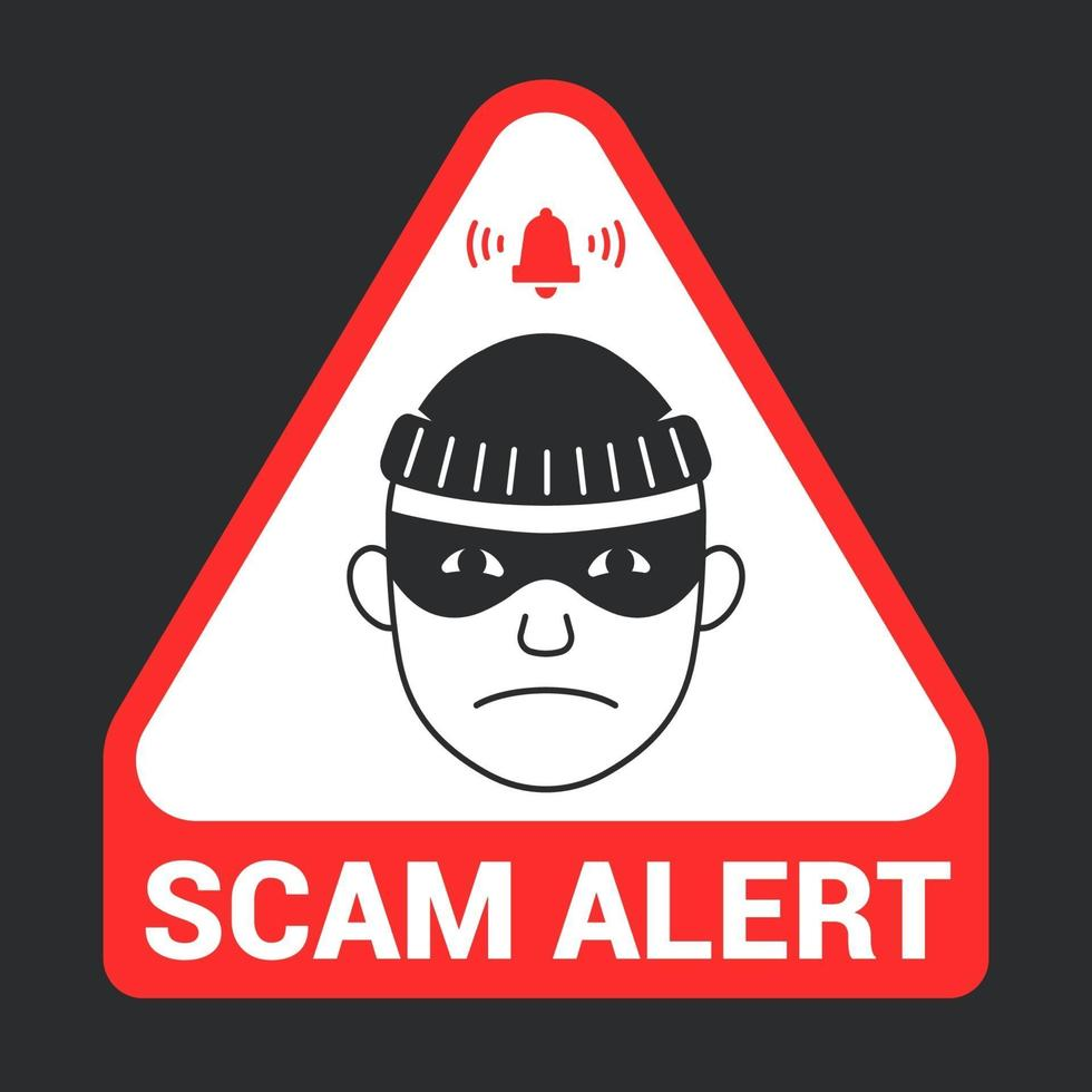 avviso di truffa emblema triangolare rosso. icona del ladro. illustrazione vettoriale piatta.