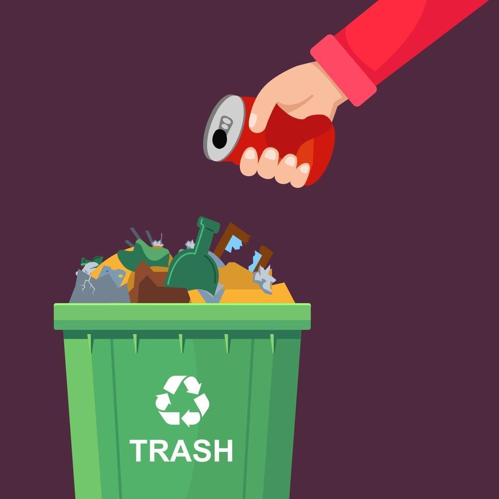 un uomo lancia una lattina in un bidone della spazzatura affollato. illustrazione vettoriale piatta