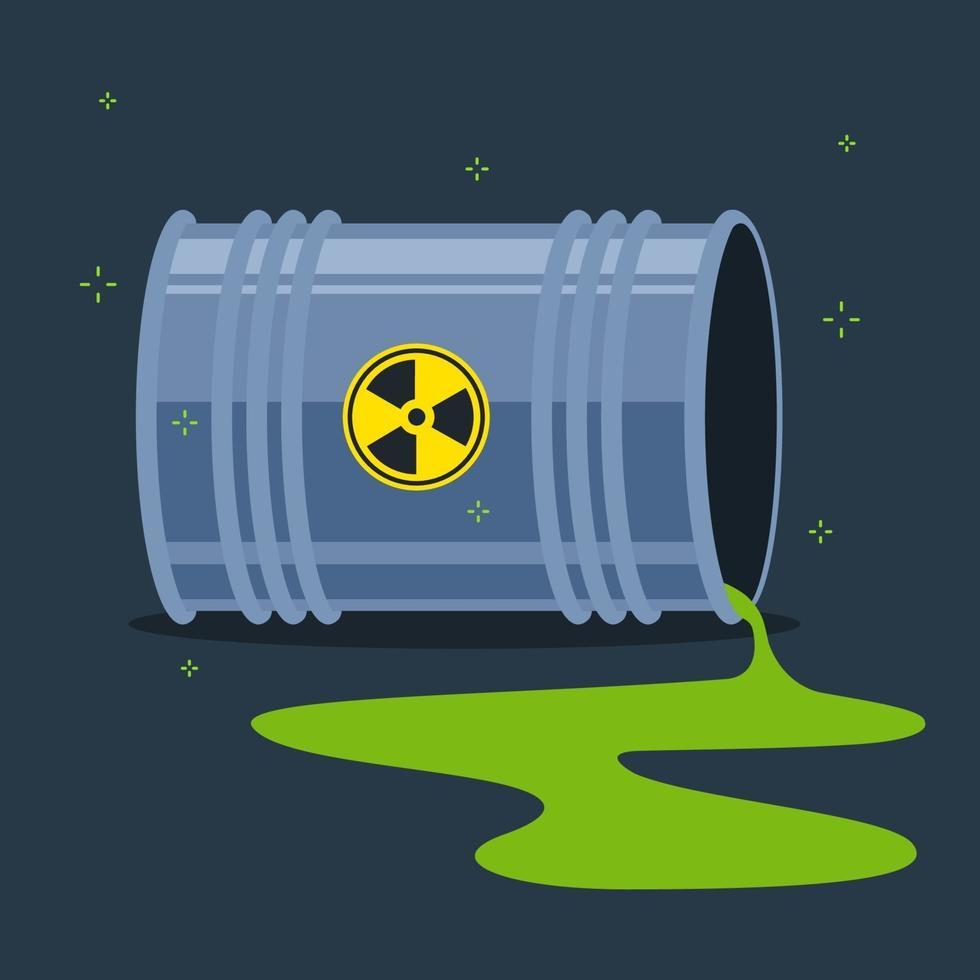 sostanza radioattiva versata sul pavimento da un barile caduto. illustrazione vettoriale piatta