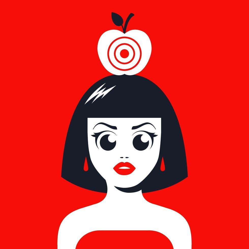 ragazza con una mela in testa con un bersaglio per le riprese. rischia la tua vita. illustrazione vettoriale piatta.