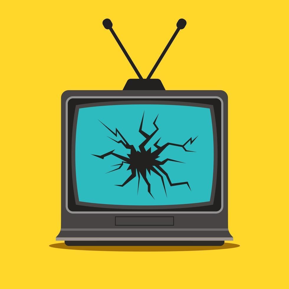 vecchia tv con una crepa nel monitor. illustrazione vettoriale piatta.
