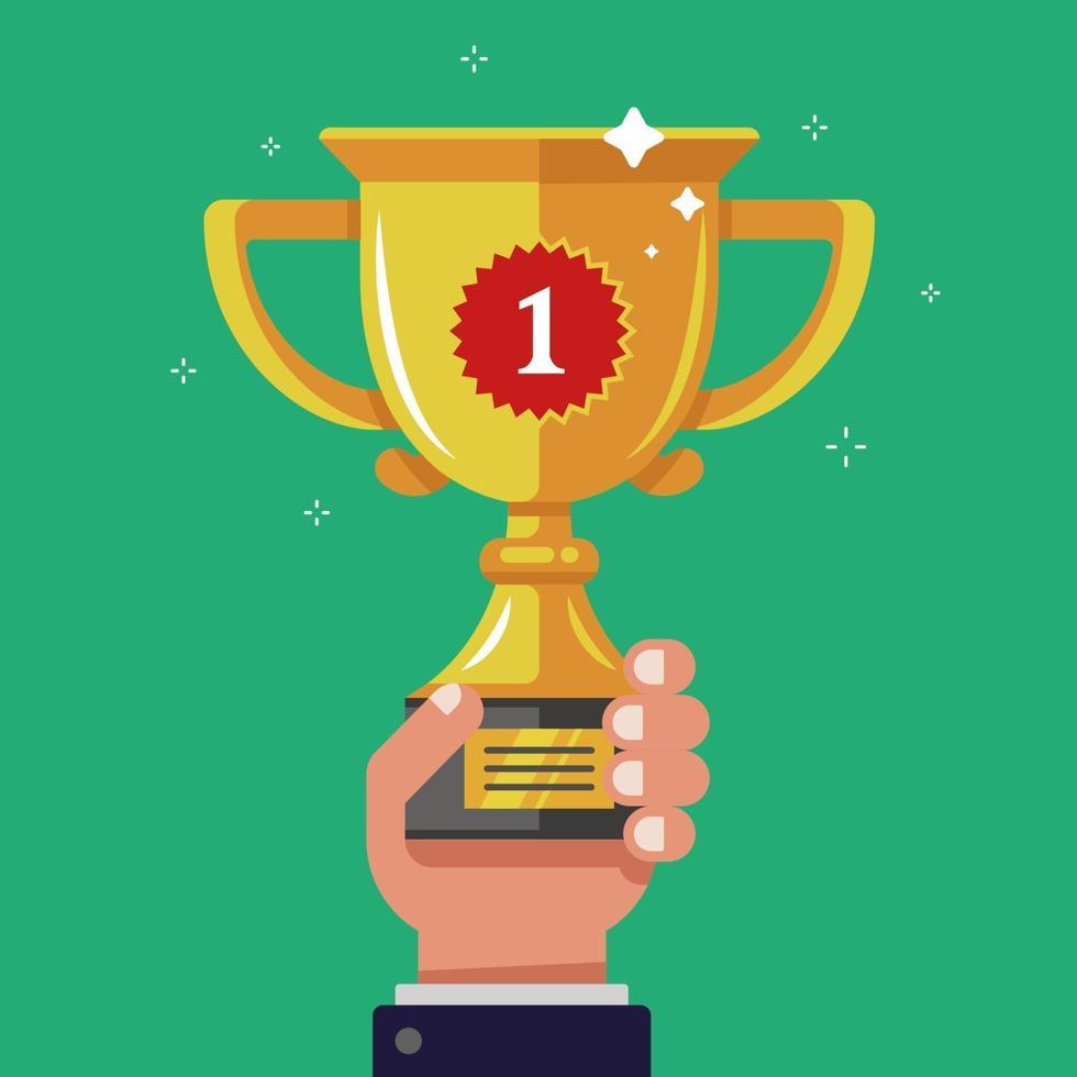tieni in mano la coppa d'oro del vincitore. alza la ricompensa. illustrazione vettoriale piatta