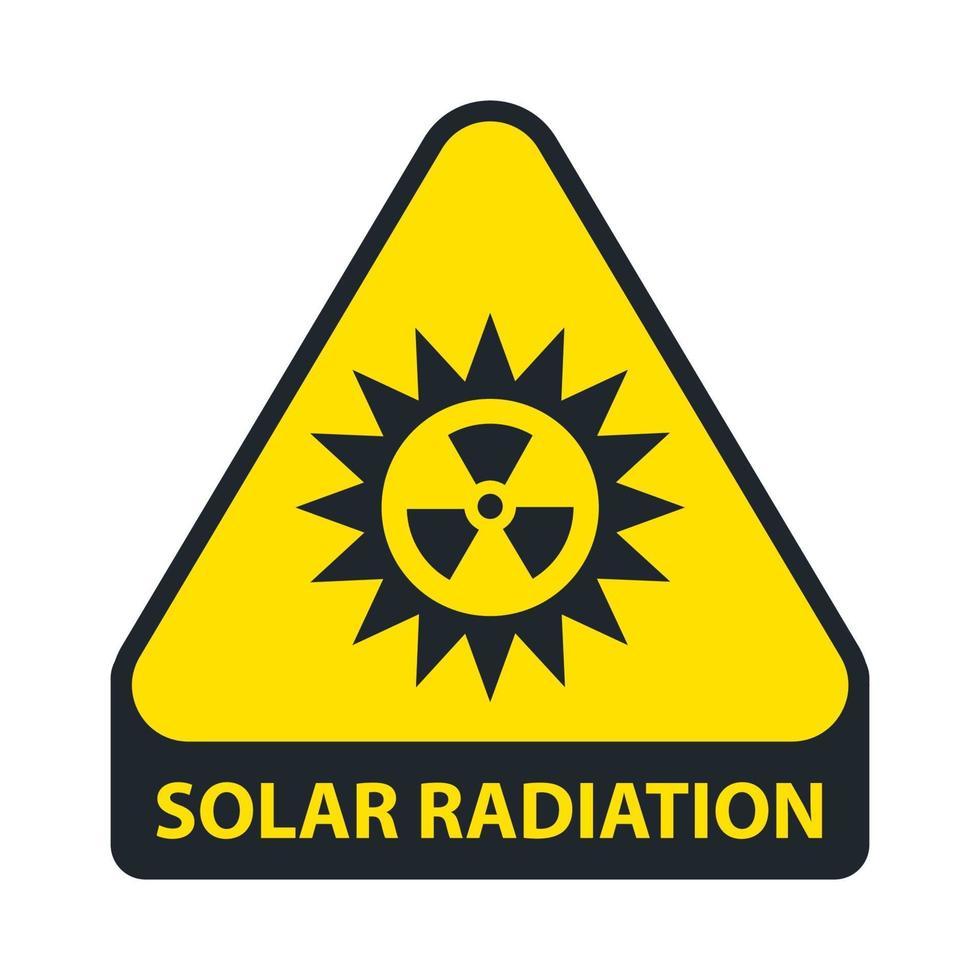 segno di radiazione solare. triangolo giallo. illustrazione vettoriale piatta.