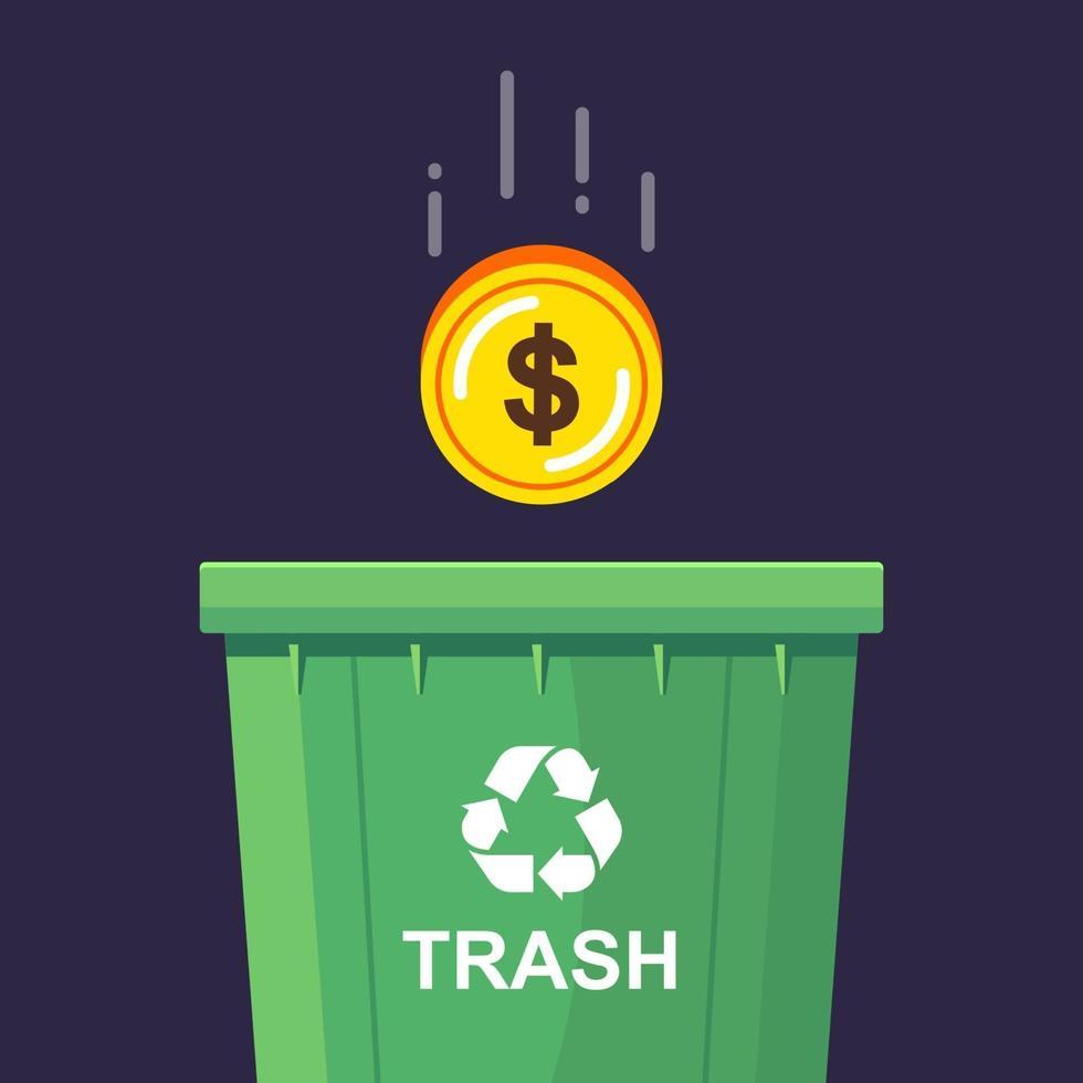 una moneta d'oro viene gettata nel bidone della spazzatura. declino economico. illustrazione vettoriale piatta.