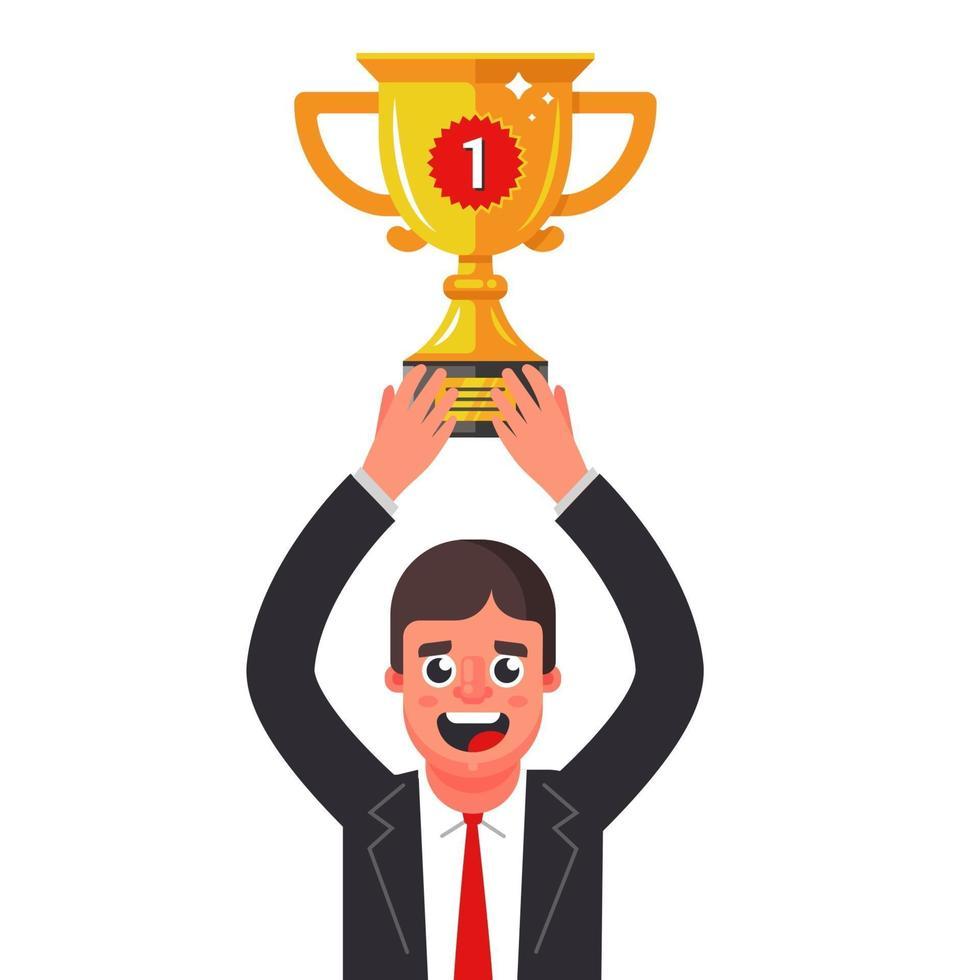 un uomo in abito con una coppa d'oro tra le mani. prendere il primo posto. illustrazione vettoriale piatta.
