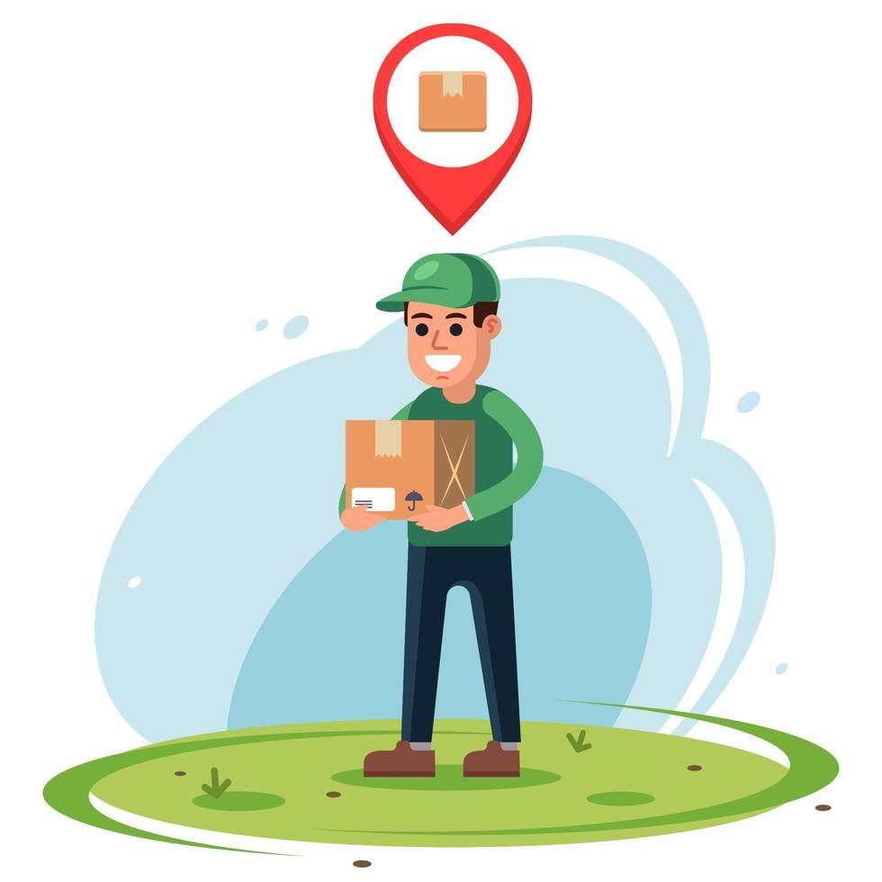corriere con un pacco in mano. indicatore di posizione della posta in linea. illustrazione vettoriale di carattere piatto.