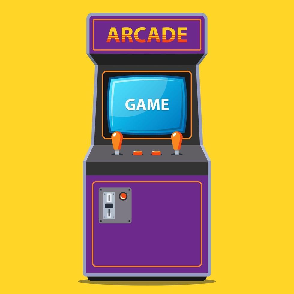 slot machine arcade in stile retrò anni '80. illustrazione vettoriale piatta.