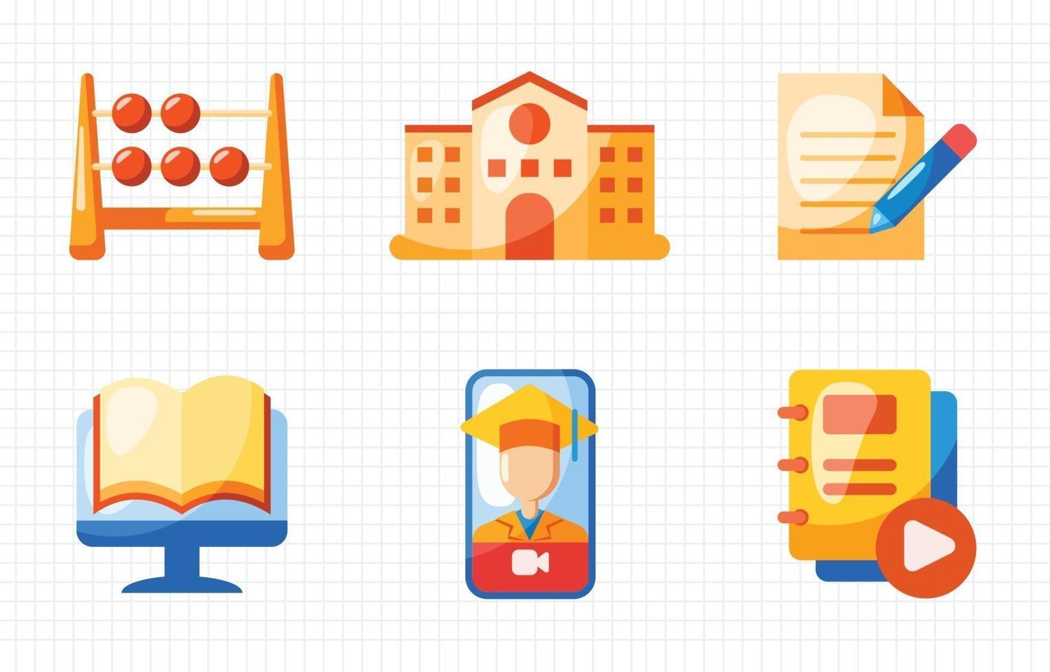 collezione di icone di educazione vettore