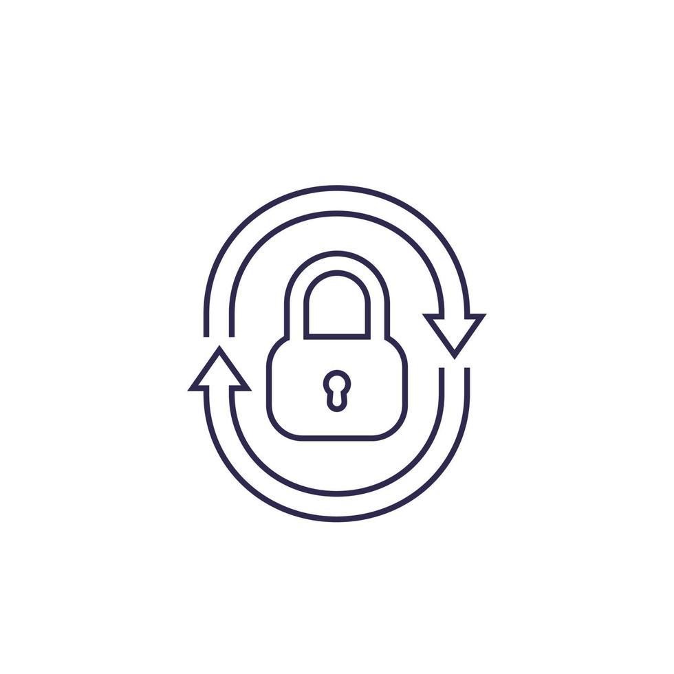 icona di sicurezza con lucchetto e frecce, vector.eps lineare vettore