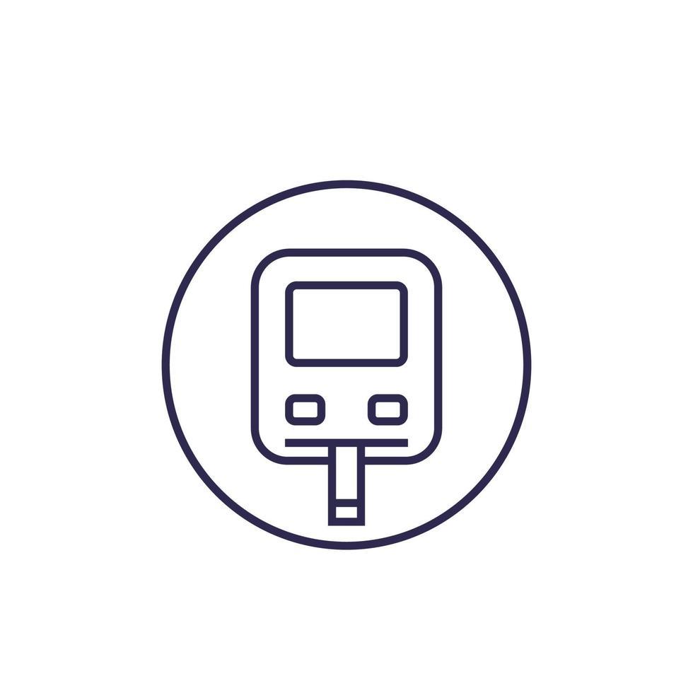 icona del monitor del glucosio, vettore di linea del glucometro