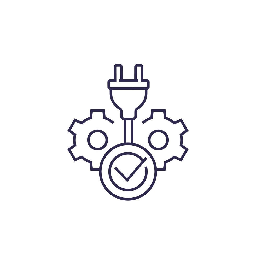 spina elettrica e segno di spunta, linea icon.eps vettore