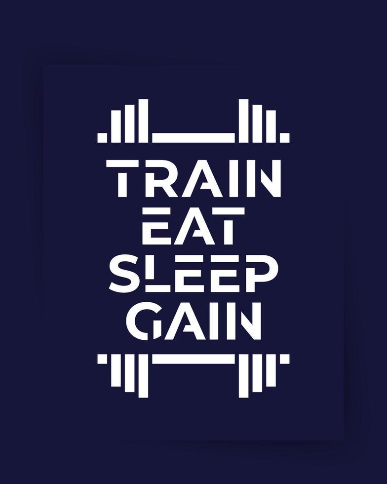 allenarsi, mangiare, dormire, guadagnare, poster o print.eps vettore