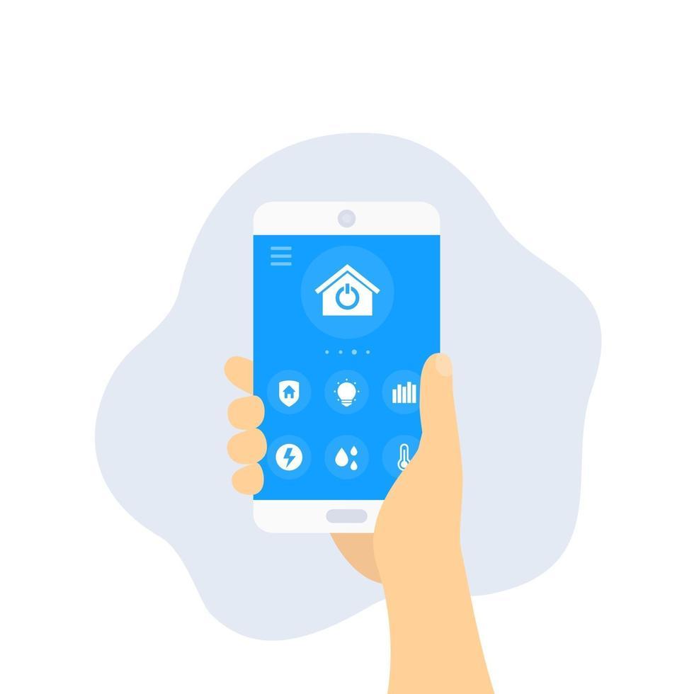 app smart home, smartphone in mano, vector.eps vettore