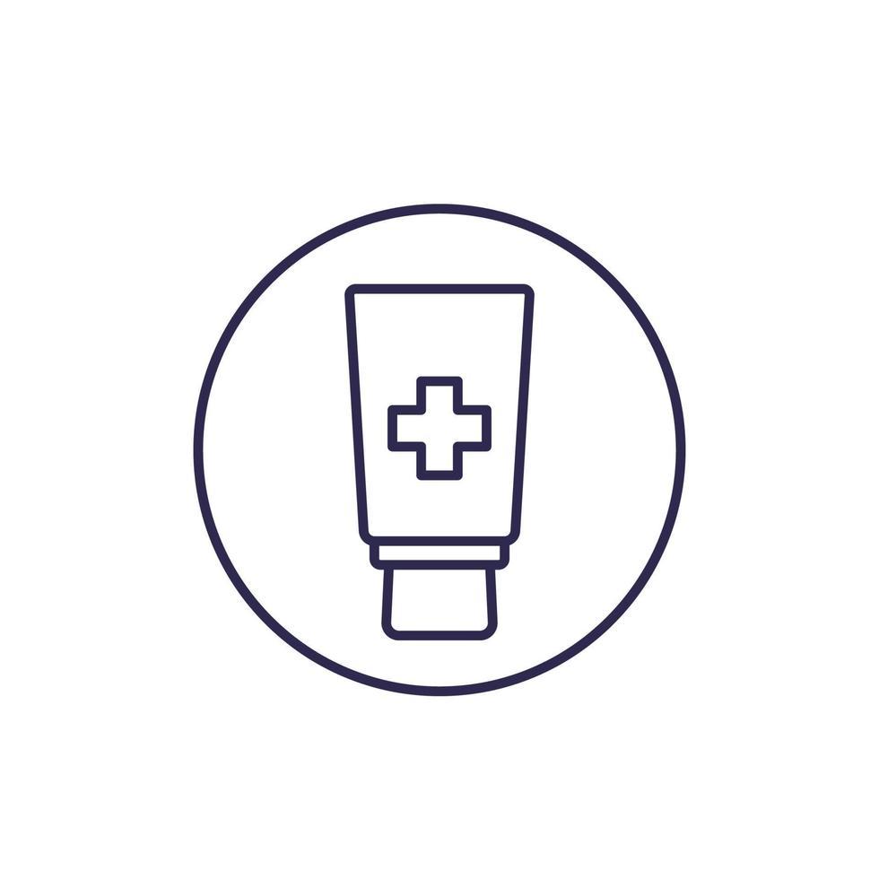 crema unguento, tubo linea medicina icon.eps vettore