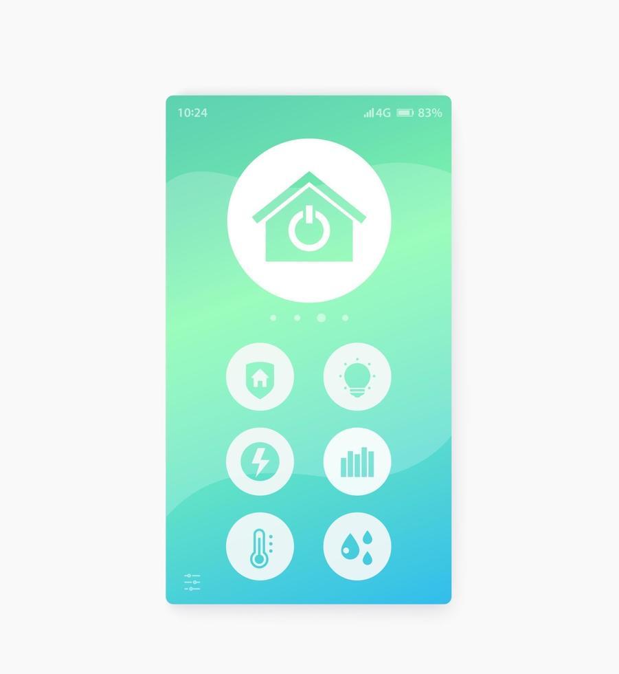 interfaccia dell'app smart home, interfaccia utente mobile, vector.eps vettore