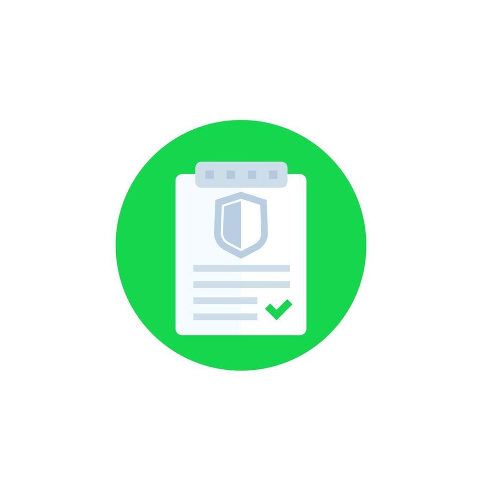 polizza assicurativa, icona del contratto, vector.eps vettore