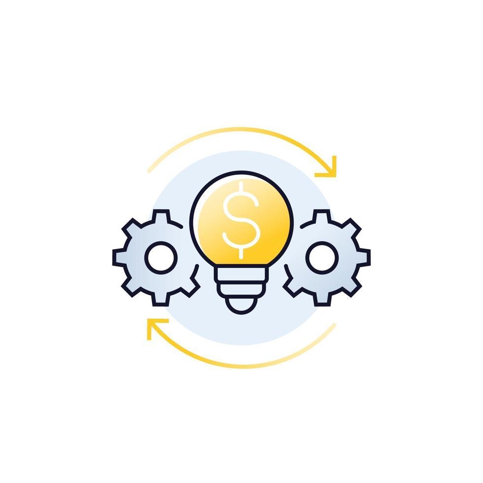 innovazioni, icona della tecnologia finanziaria, vector.eps vettore