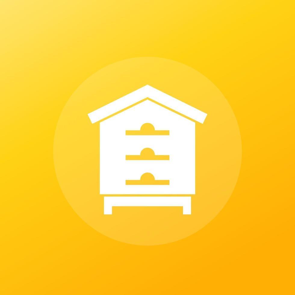 alveare, casa delle api vector icon.eps