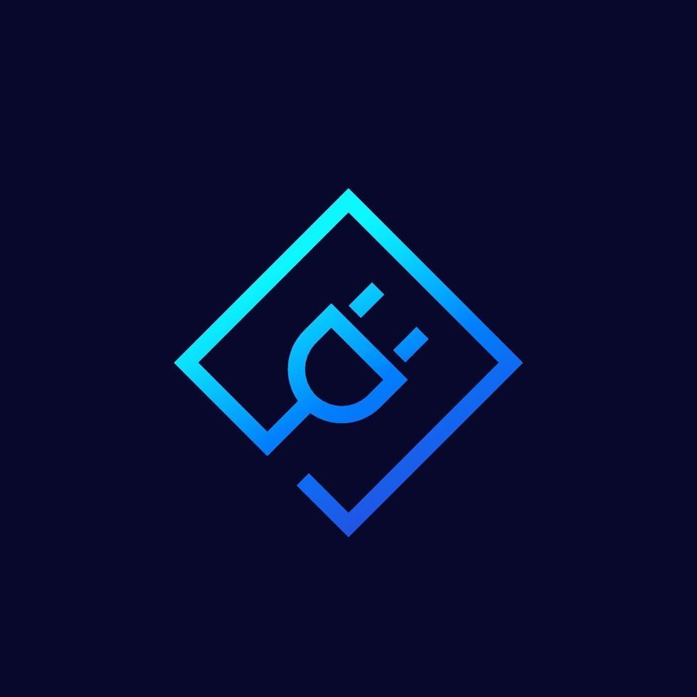 icona della presa elettrica, logo vettoriale lineare.eps