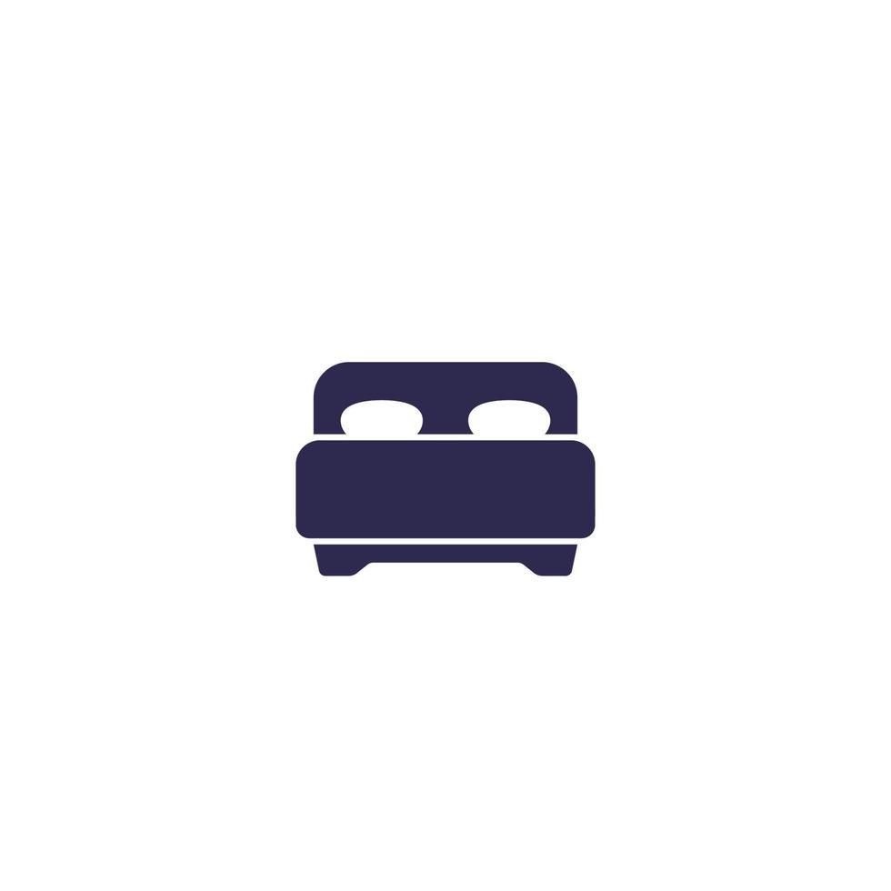 camera da letto, icona di letto matrimoniale su white.eps vettore