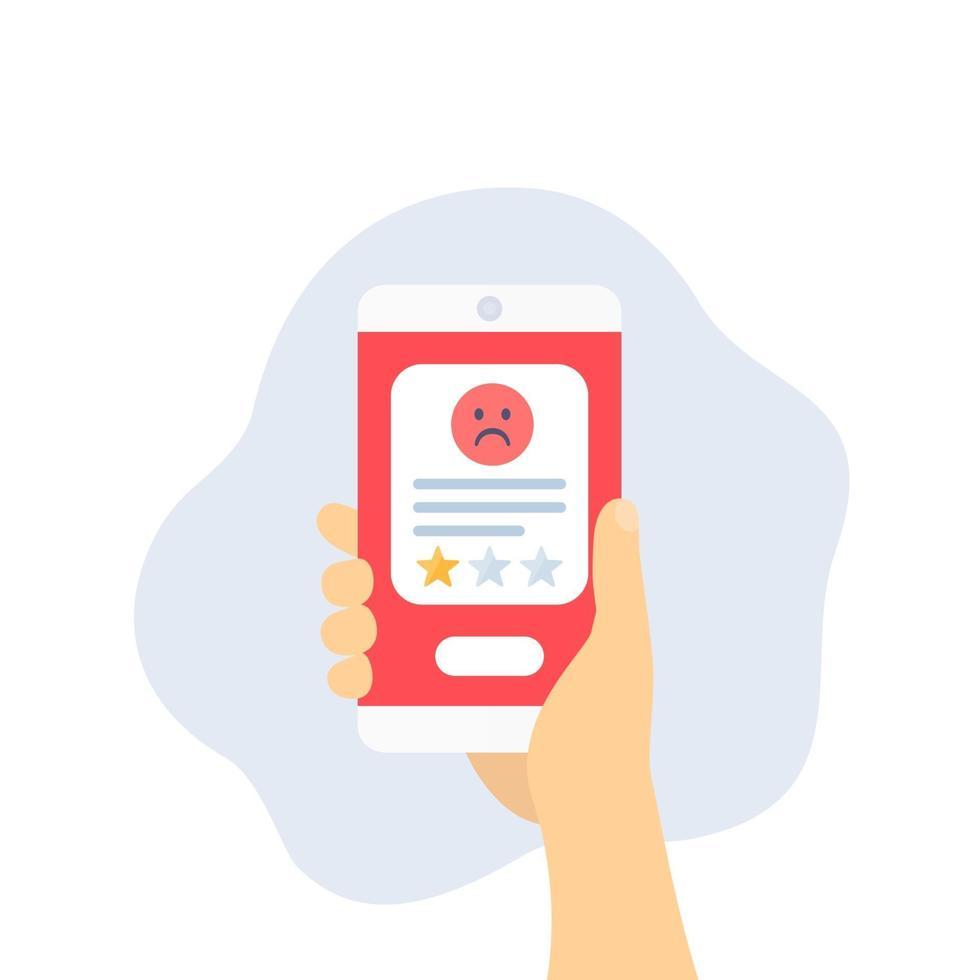 icona recensione negativa con phone.eps vettore