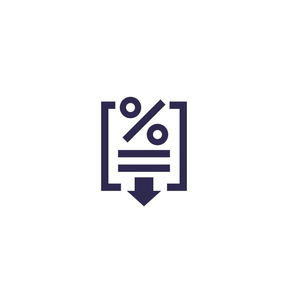 icona di taglio di tasso, concetto di affari.eps vettore