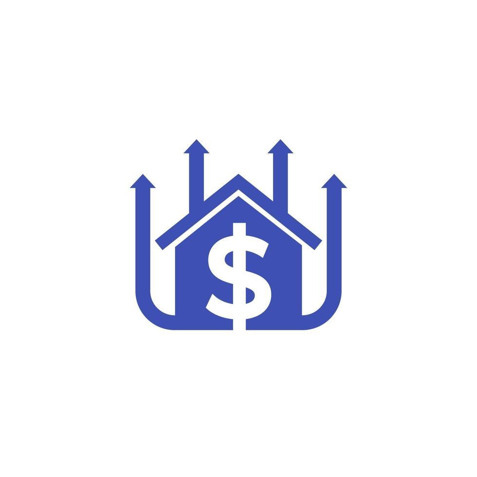 icona in crescita dei prezzi delle case, vector.eps vettore
