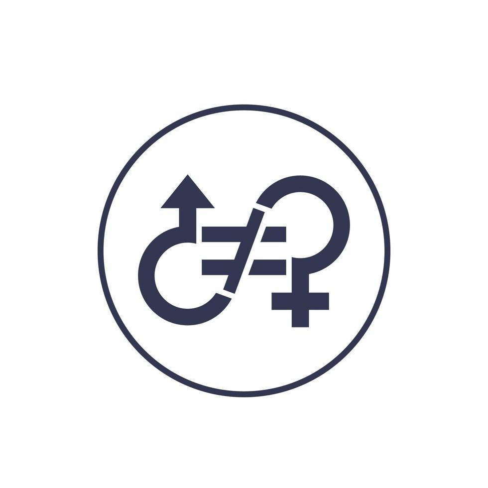 icona di disuguaglianza di genere, segno di vettore.eps vettore