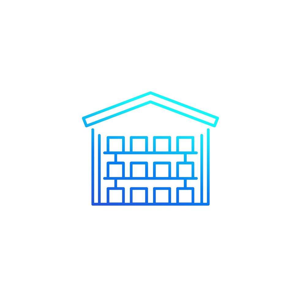edificio magazzino con scatole, linea del vettore icon.eps