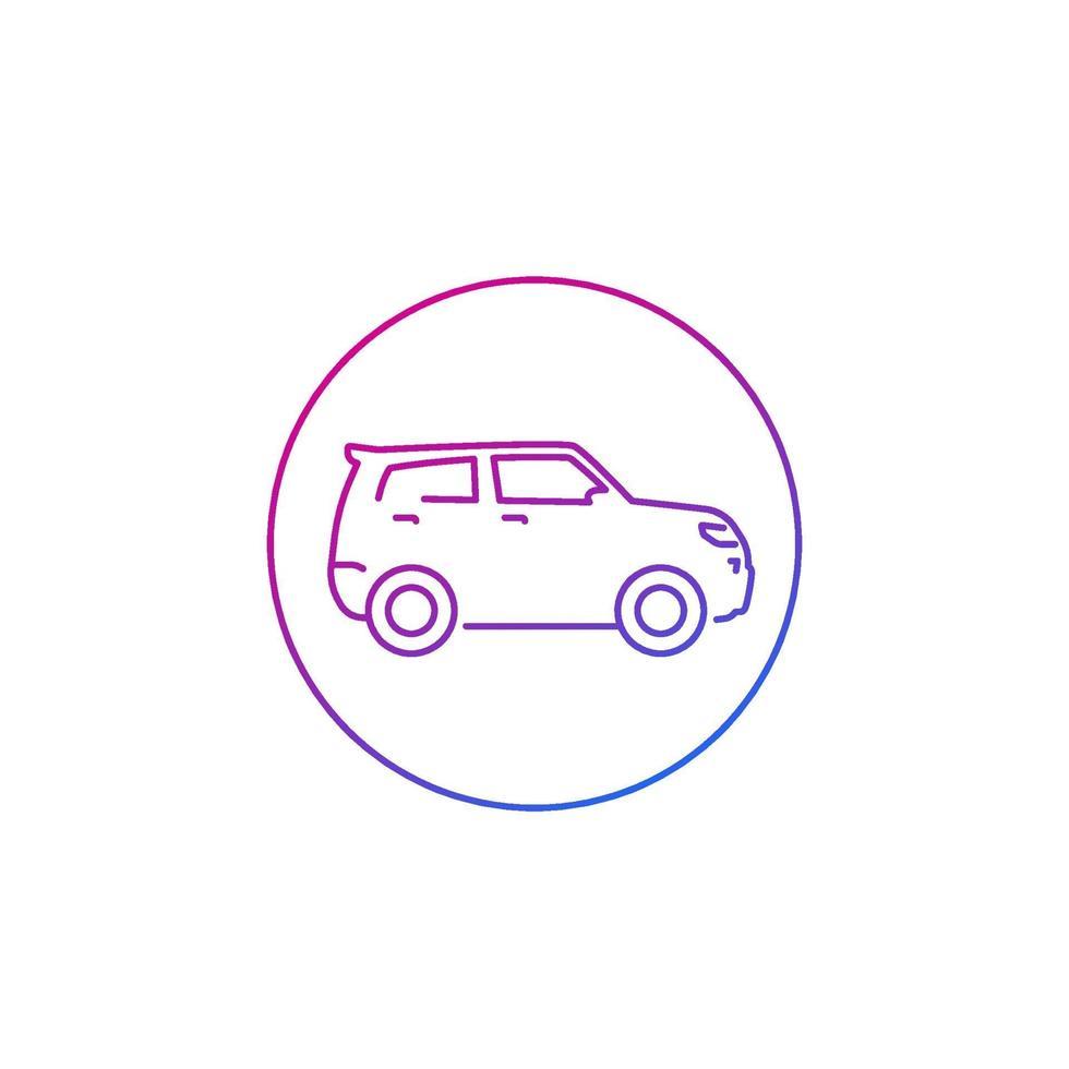 icona di auto suv su bianco, line.eps vettore