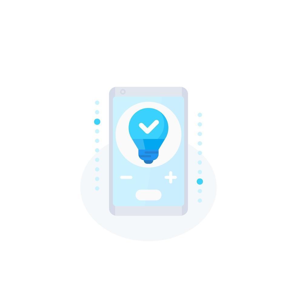 icona della luce led intelligente con phone.eps vettore