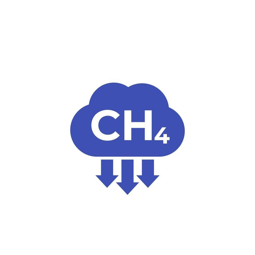 emissioni di metano, icona ch4 su white.eps vettore