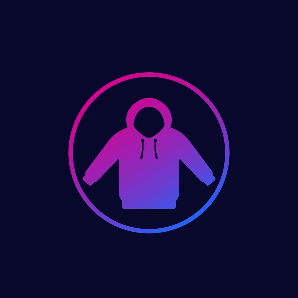 icona di felpa con cappuccio in cerchio, vector.eps vettore