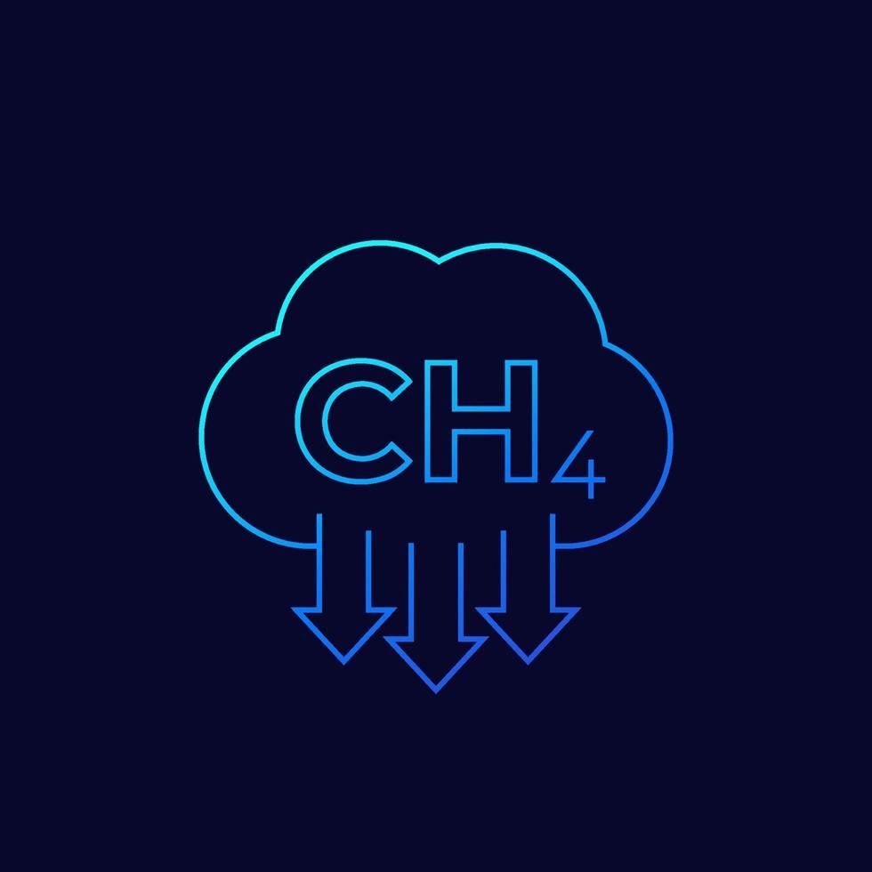 emissioni di metano, ch4 vettore lineare icon.eps