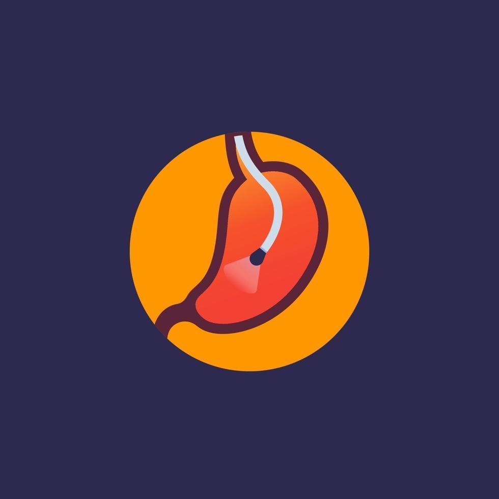 icona di endoscopia con stomaco e endoscope.eps vettore