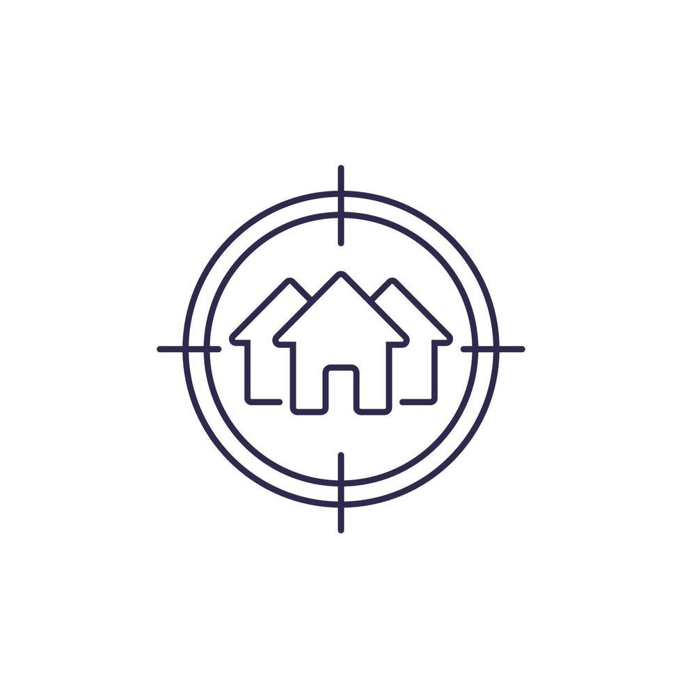 ricerca casa, icona di linea del vettore immobiliare.eps