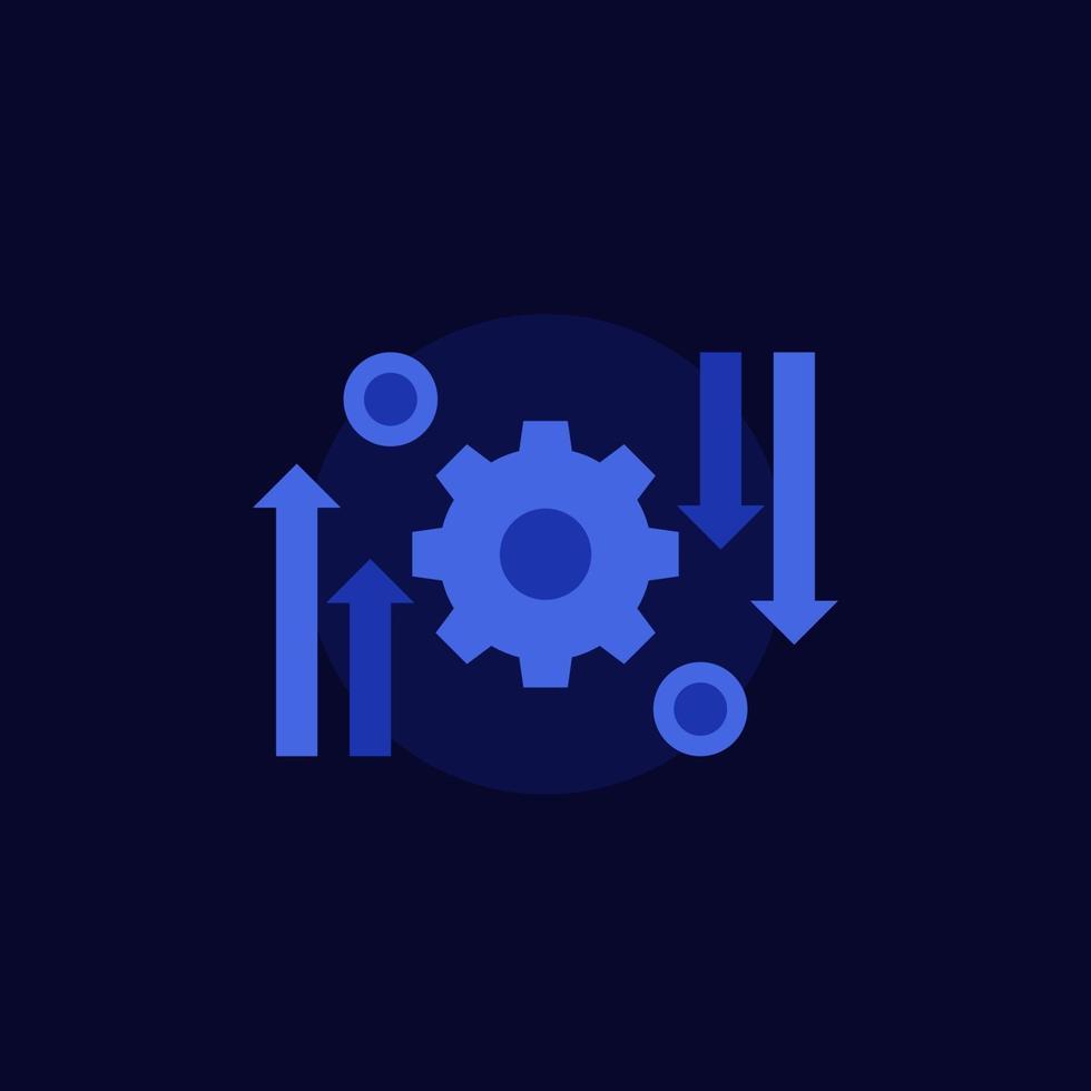 processo di automazione e ottimizzazione, icona di vettore su dark.eps