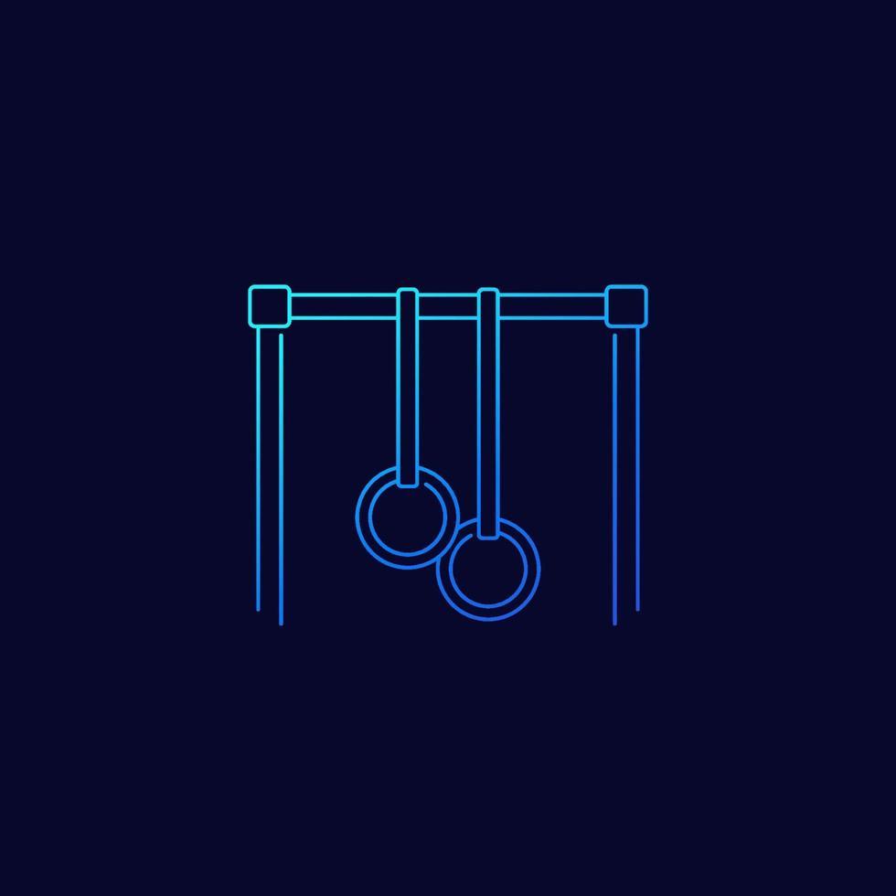 bar con anelli di ginnastica, vettore lineare icon.eps