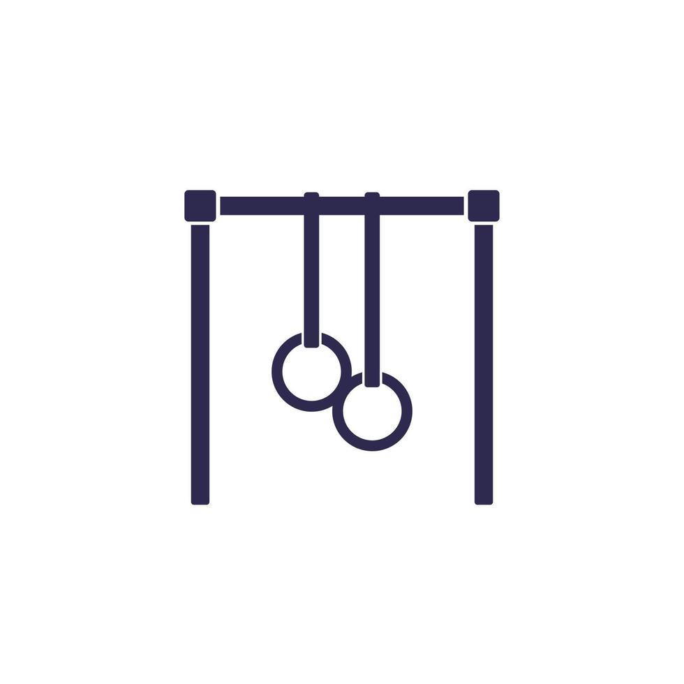 bar con icona di anelli di ginnastica su white.eps vettore