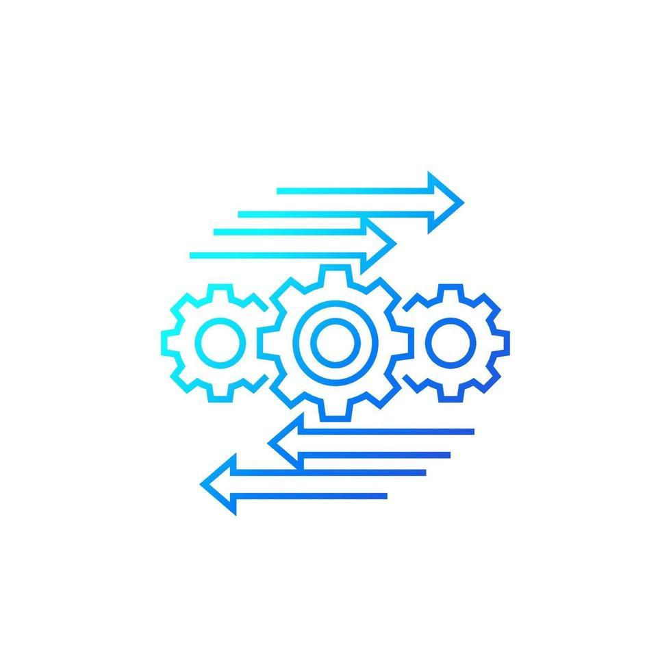 processo di automazione e ottimizzazione, icona linea su white.eps vettore