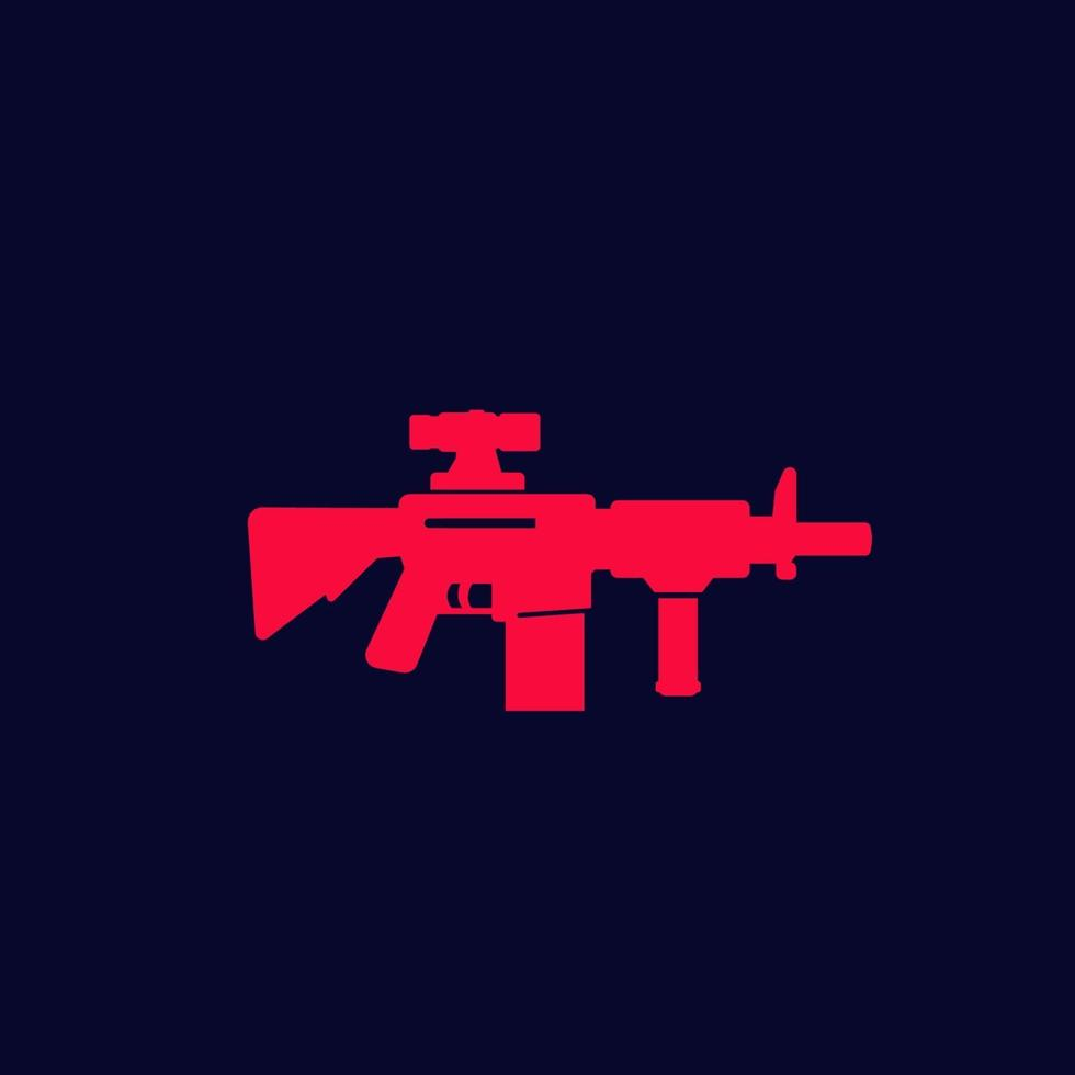 fucile d'assalto con mirino ottico, vettore di pistola icon.eps