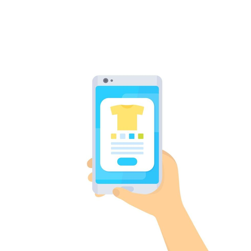 shopping online, e-commerce, acquista online con l'app mobile, vector.eps vettore