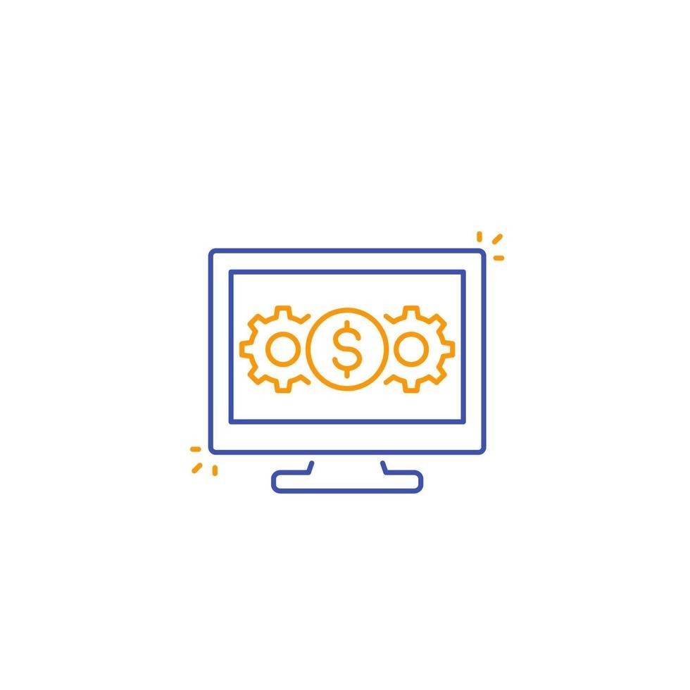 Internet banking, elaborazione dei pagamenti line icon.eps vettore