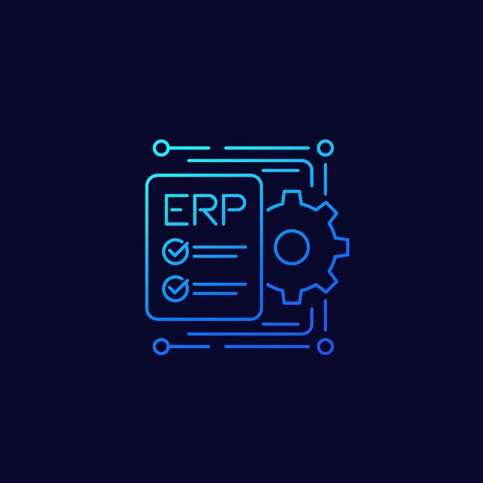 erp, icona di pianificazione delle risorse aziendali, linea vector design.eps