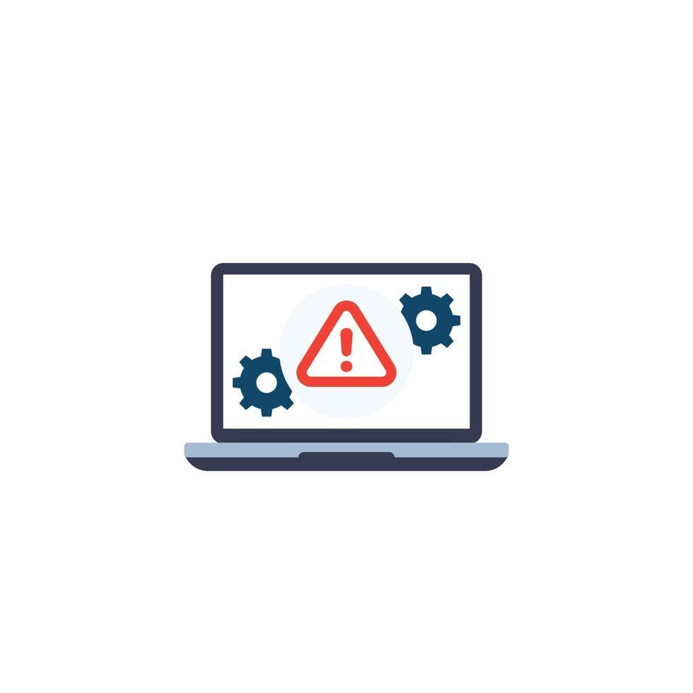 icona di avviso di errore con laptop.eps vettore