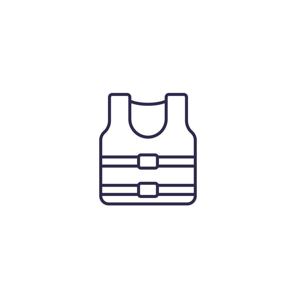 icona di giubbotto di salvataggio su bianco, line.eps vettore
