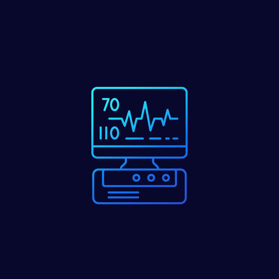 macchina ecg, icona lineare di diagnostica del cuore.eps vettore