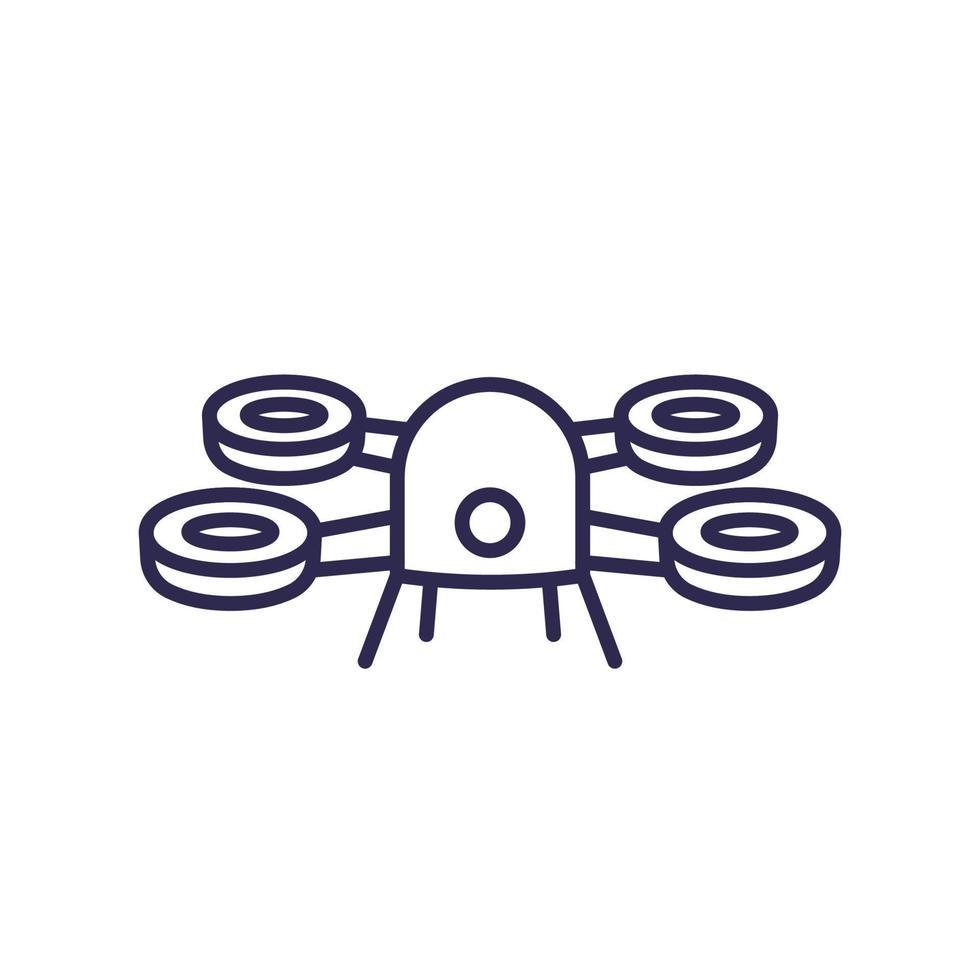 icona di drone su bianco, line.eps vettore
