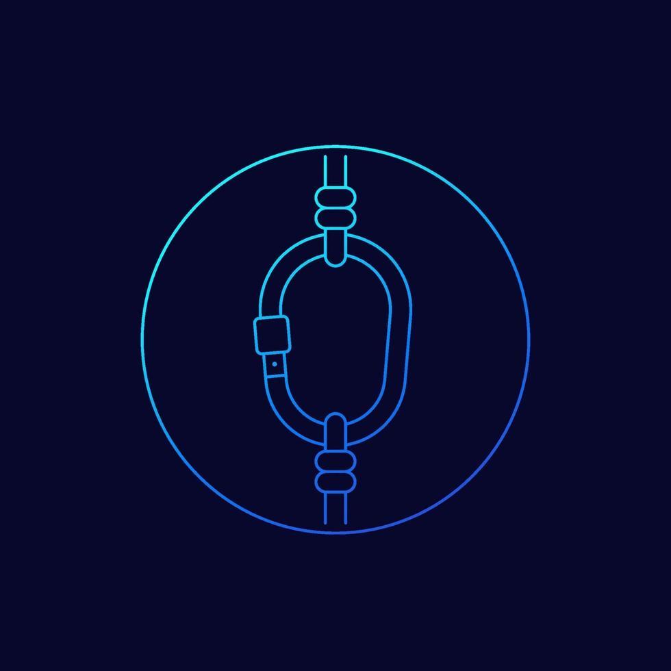 moschettone e corda, icon.eps lineare vettore
